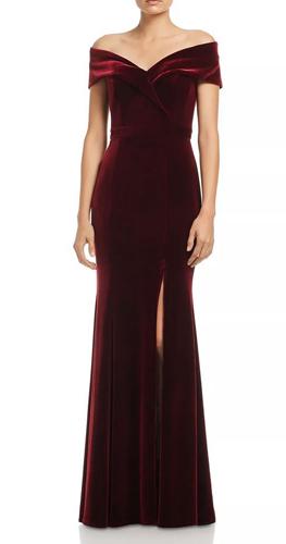 Fluted Velvet Gown