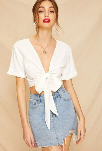 Front Frill Cuff Crop Blouse