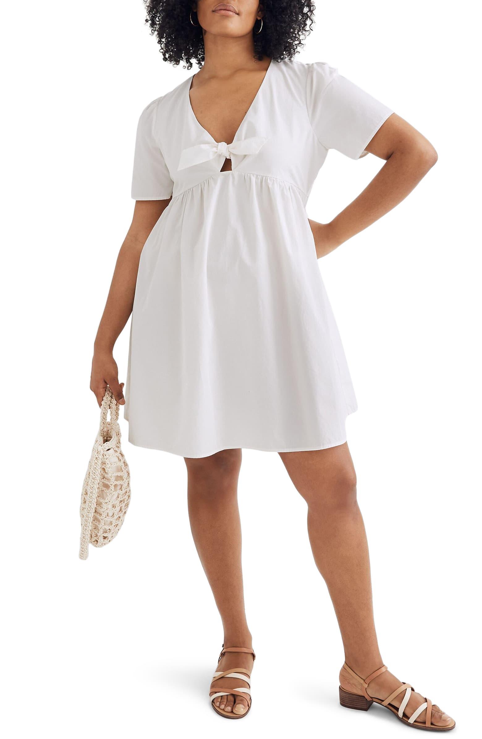madewell tie front mini dress