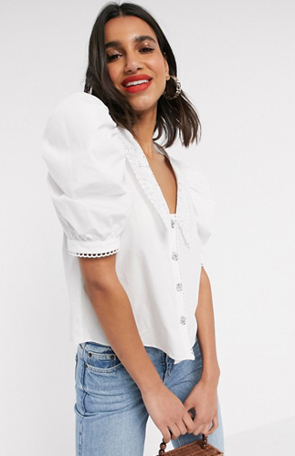 Collar Top In White
