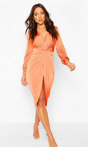 Twist Front Wrap Dress