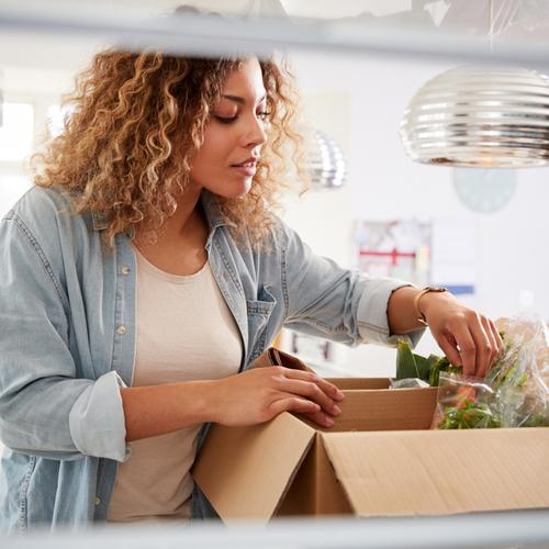 woman unpacking food