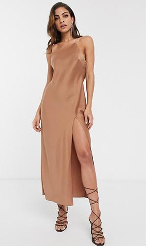 Shoulder Midaxi Dress In Satin