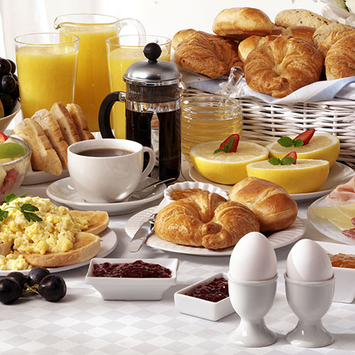 assortment of breakfast food
