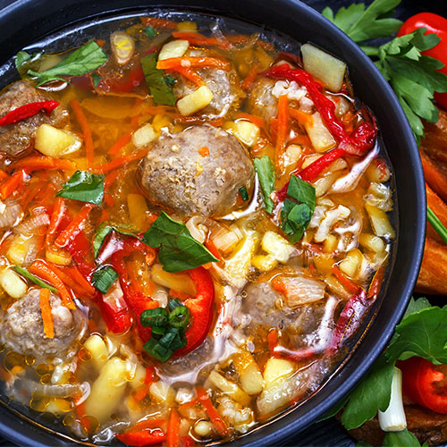 Vegetable and Chicken Meatball Soup