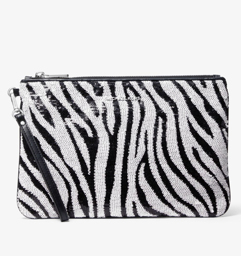 Zebra Sequined Zip Pouch