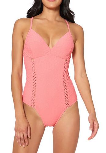 Textured One-Piece Swimsuit