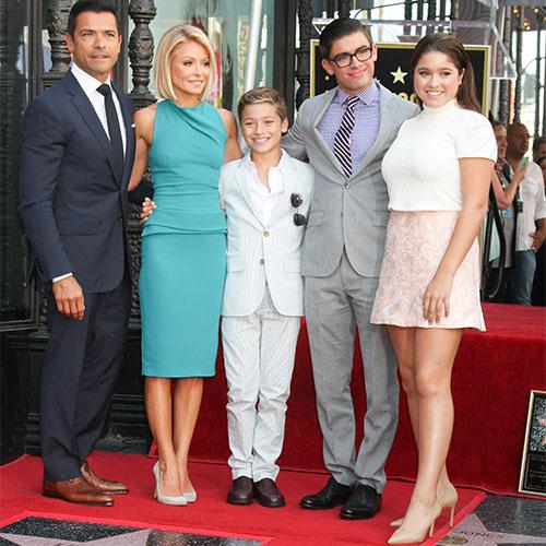 Kelly Ripa, Mark Consuelos, and their children