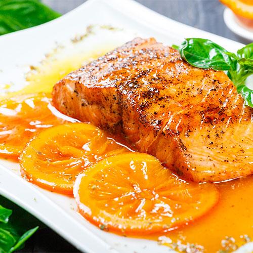 Keto Seared Ginger-Cumin Swordfish With Blueberry-Avocado Salsa