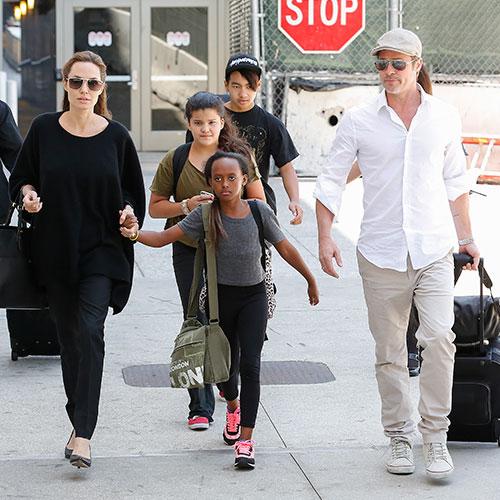 Angelina Jolie, Brad Pitt, and their kids