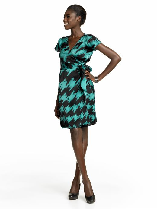 BR Silk Printed Wrap Dress