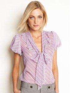 BR Silk geo-print bow top