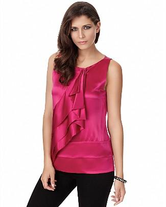 DVF silk sleeveless ruffle top