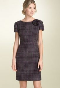 Eliza J Plaid Sheath Dress with Flower