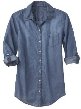 Collection of womens denim shirt old navy best fashion for Denim shirt women old navy