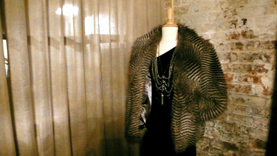 Curations with Stefani Greenfield Striped faux fur jacket