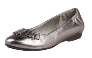 silver ruffle flat shoe