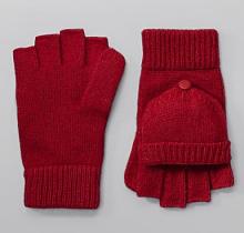Pop Top Wool Knit Fingerless Gloves