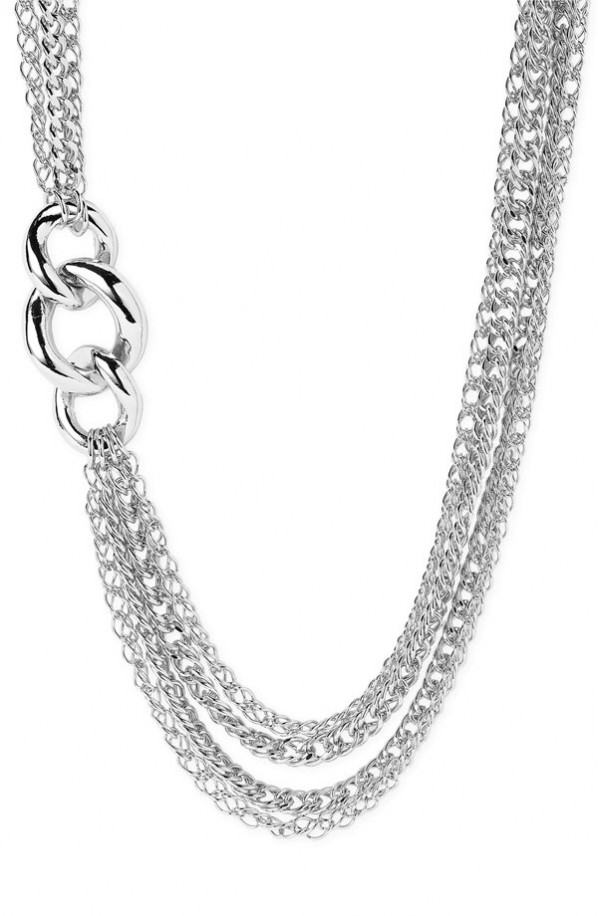 Layered Necklaces on Sequin Layered Chain Necklace