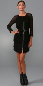 Zip Front Dress with Belt