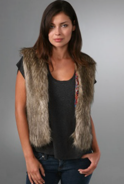 a common thread faux fur vest