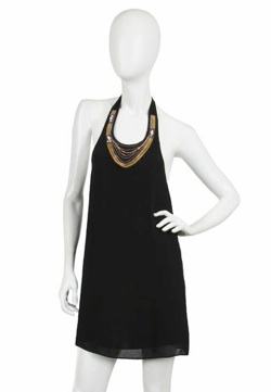 alice and olivia chain necklace halter dress