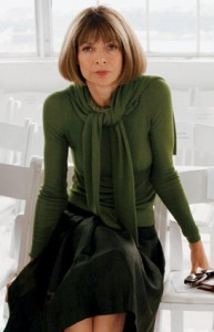 anna wintour in a green sweater