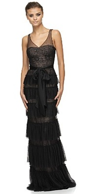 bcbgmaxazria long black lace tiered gown