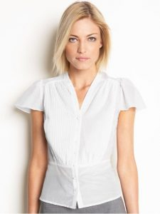 banana republic pleated white blouse