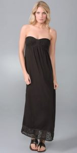 c c california strapless coffee maxi dress