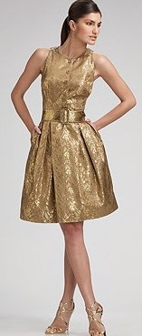 chetta b. metallic jacquard dress