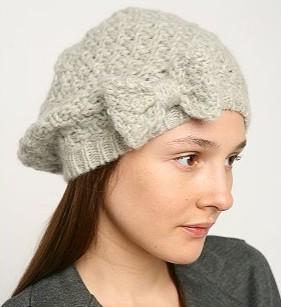 chunky bow beret