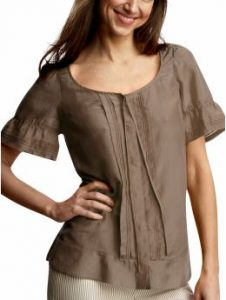 gap cocoa powder ruffled pintuck top