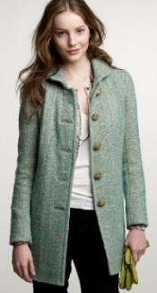 jcrew mint tweed griffin coat