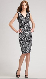 kay unger sleeveless printed sheath