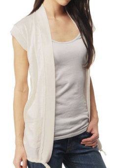 lucky white cap sleeve cardigan