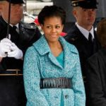 Michelle Obama Wears Bright Tweed On Veterans' Day