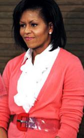 Michelle Obama coral-colored cardigan