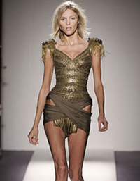 model in balmain dress