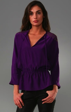 parker tie keyhole blouse with long sleeves