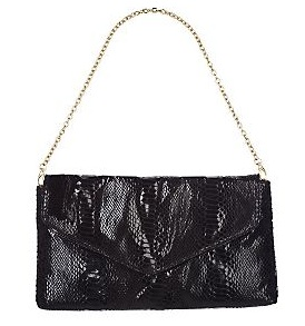rachel zoe for qvc snake embossed clutch