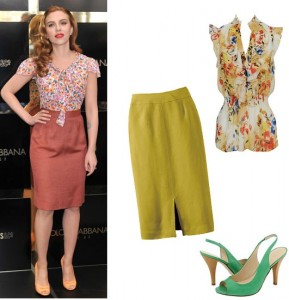 scarlett johansson in a pencil skirt and floral blouse