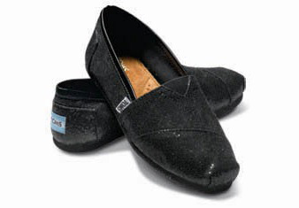 toms shoes black glitter slip-ons