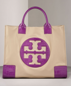 tory burch nylon ella tote in purple