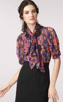 tracy reese tie neck silk blouse