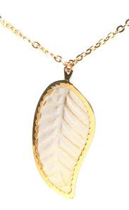 white leaf necklace